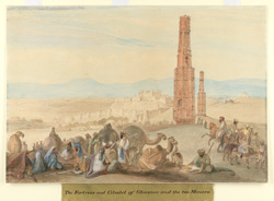 The fortress and citadel of Ghazni (Afghanistan) and the two Minars.  Tribesmen with camels, horses and pack bullocks in foreground